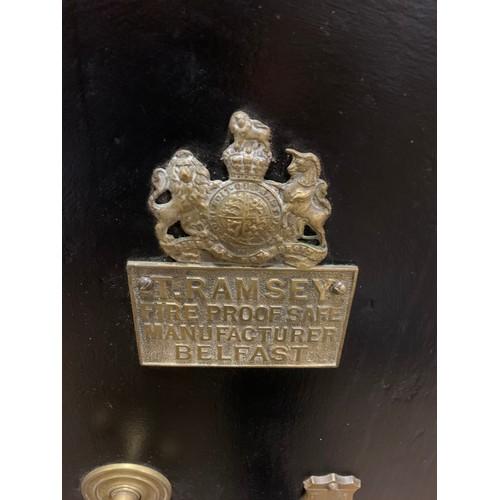 41 - Large antique T. Ramsey of Belfast safe drinks cabinet false back . 89cm x 61cm x 59cm .
