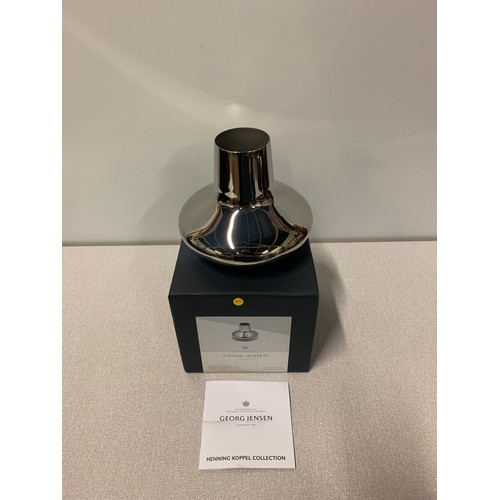 1 - New boxed, Georg Jensen Stainless steel vase from the Henning Koppel Collection.13cm tall.