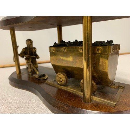 5 - Vintage brass coal miner and pit pony colliery scene wooden plinth display.39cm tall.