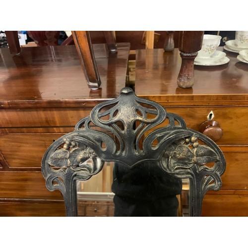 14 - Large, heavy cast metal Art Nouveau table mirror.49cm x 24cm.