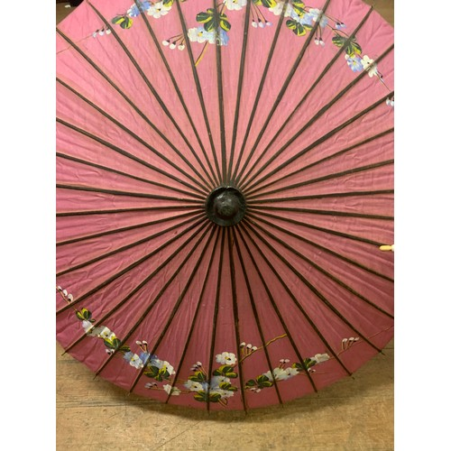 24 - Antique 1920's Burmese silk parasol with hand painted floral design along with Battenburg white lace...