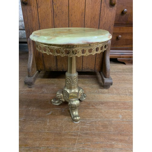 33 - Vintage brass and onyx end table.