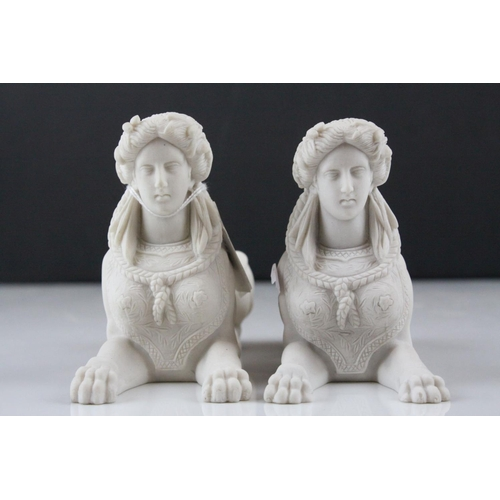 14 - Pair of Parian ware Style Sphinx with the head of a Roman / Greek Woman and the body of a Lion, 17cm...