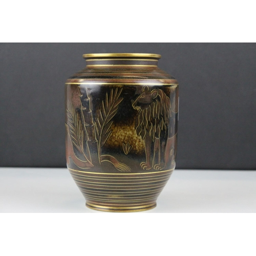 15 - Swedish Sweden ' ALP ' Flambe Rorstrand Lipkoping Gunnar Nylund Vase decorated with Lions, 15cms hig...