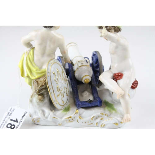 18 - Meissen Porcelain Figure Group of Two Children / Infants firing a Cannon, the base decorated with gi...