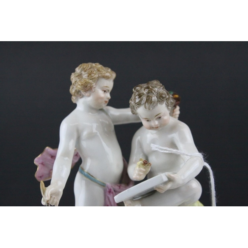 19 - Meissen Porcelain Figure Group of Two Children / Infant Artists, the base decorated with gilt scroll...