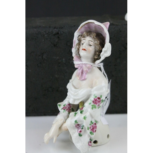 21 - Small Meissen Porcelain Model of a Magpie, 7cms high together with Augustus Rex Porcelain Pin Doll H...