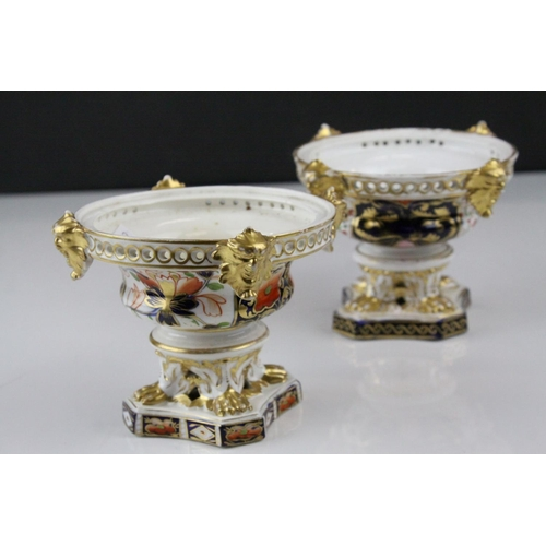 24 - Pair of 19th century Crown Derby Imari Patterned Urns, 9cms high...