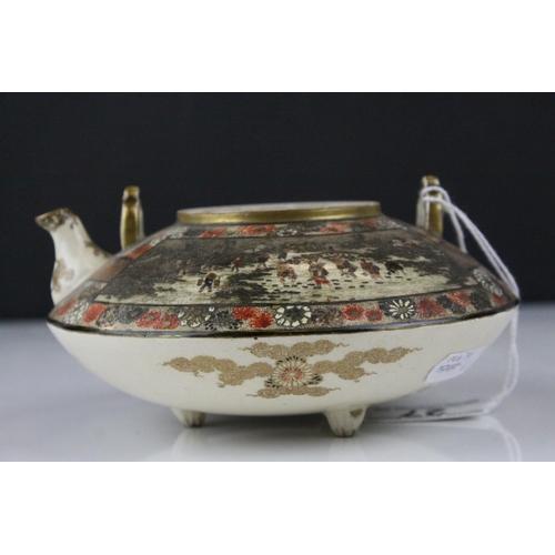 27 - Japanese Satsuma Squat Teapot (lid a/f), 7cms high...
