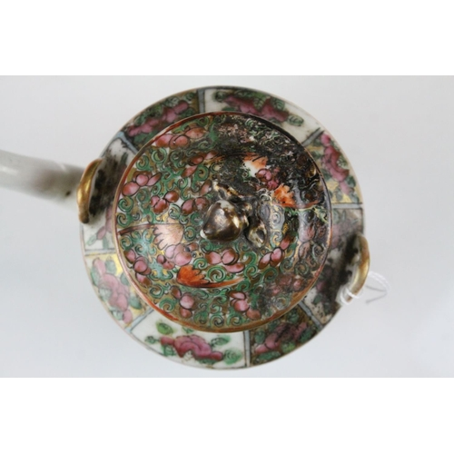 29 - Cantonese Famille Rose Teapot with enamel decorated panels of figures and butterflies in foliage, 15...
