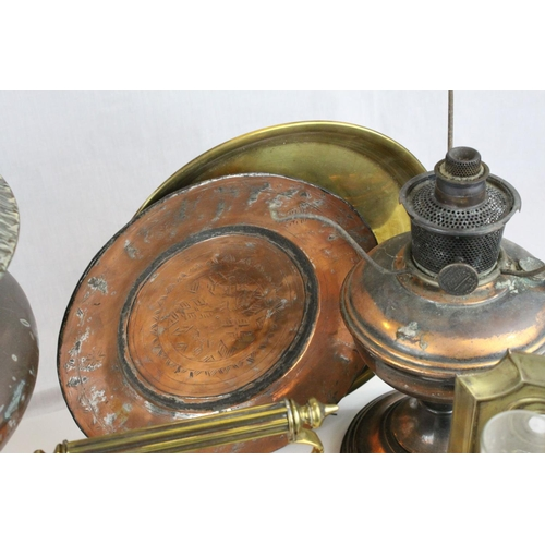 31 - Collection  of Metalware including Copper Kettle, Copper Oil Lamp Base, Carriage Lamp (converted to ...