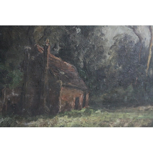 32 - Oil on Panel Cottage in Woodland Landscape signed and inscribed Eltham on verso, 24cms x 34cms...