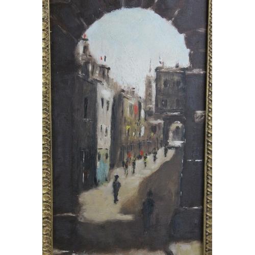 33 - Anthony Robert Klitz (1917-2000), Oil Painting on Board of Street Scene through Archway, 40cms x 19c...