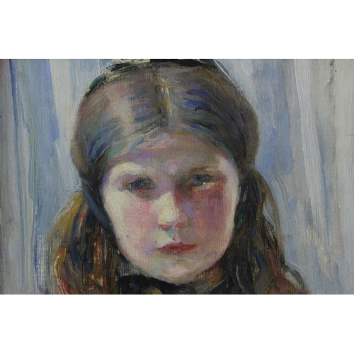 35 - Ruth Helprin Hammerslough (1883-1983) Oil Painting on Board Half Length Portrait of a Girl, signed u...