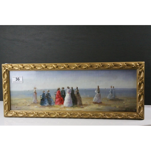 36 - Gilt Framed Oil Painting of a Victorian Beach gathering...