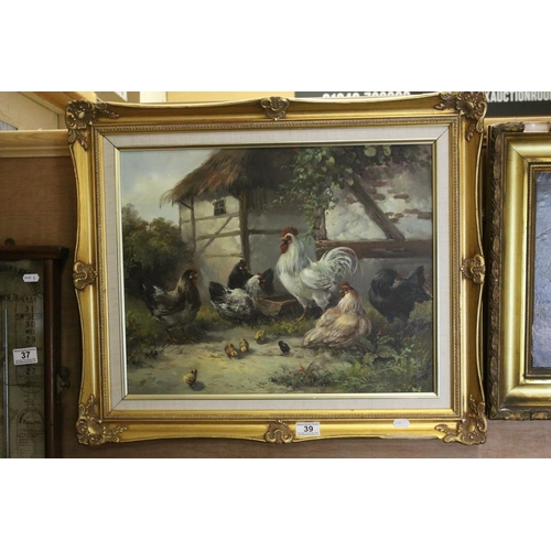 39 - Peter duffield oil on canvas mounted in a gilt frame cockerel and hens with chicks in a farmyard set...