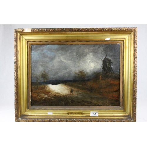 42 - Oil Painting on Board depicting a Moonlit Figure on Lane near a Windmill, signed lower right Michel ...