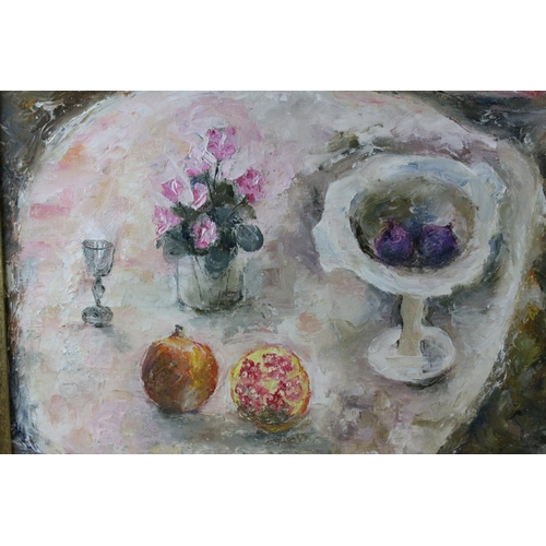 43 - D. Matthews F.R.S.A, Oil Painting on Board Still Life of Figs and Pommegranite initialled lower righ...