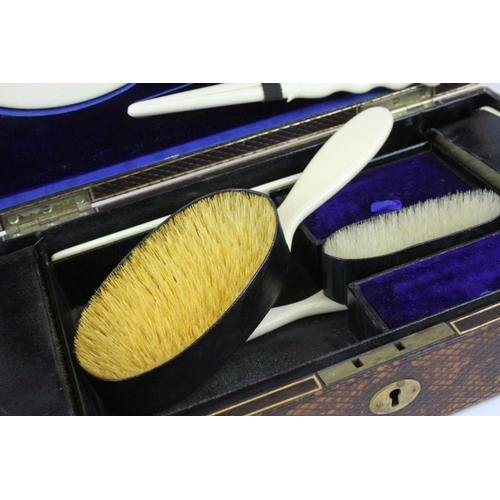 45 - Victorian Ivory Backed Dressing Table Set comprising Mirrors, Hair Brushed, Glove Stretchers, Hand M...
