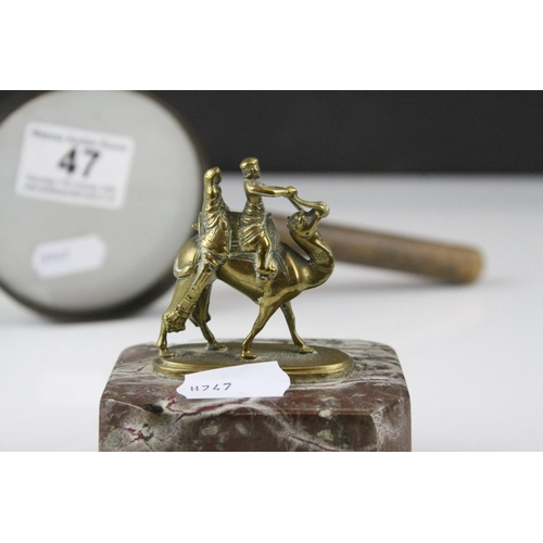 47 - Small Brass Camel with Riders on a Marble Plinth, 9cms high together with a Magnifying Glass with Wo...