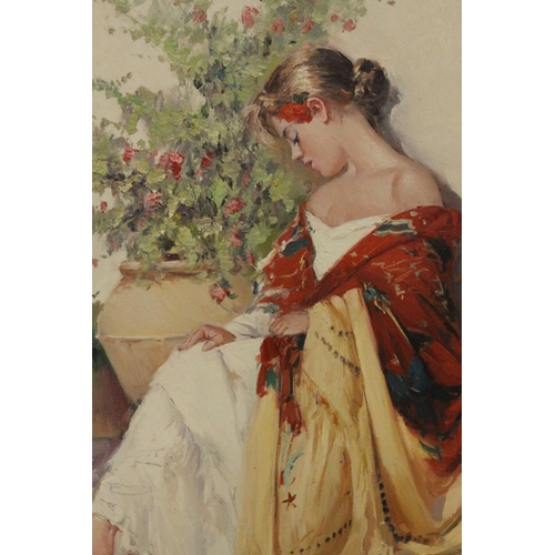 48 - J Soper large framed oil on canvas of a seated girl in a courtyard setting, with flowers 53 x 44 cm...