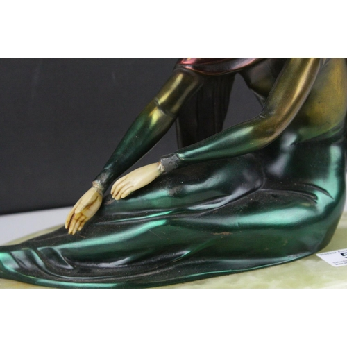 50 - In the manner of Ugo Cipriani, Art Deco style resin figure of an elegant lady in green flowing dress...