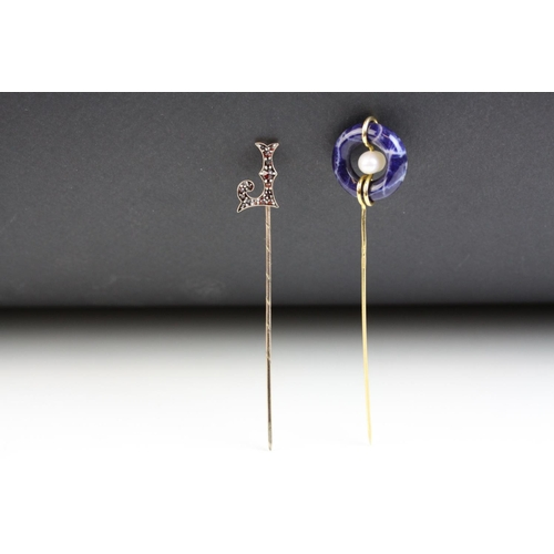 32 - Victorian Bohemian garnet rose metal stick pin, the letter J full set with graduation rose cut garne...