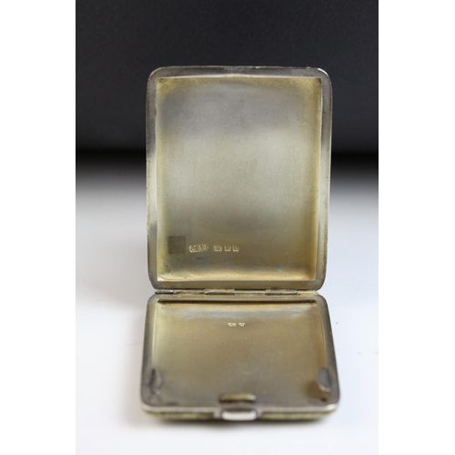 34 - Shagreen silver small cigarette case, makers Collett & Anderson, London 1932, length approx 6cm...