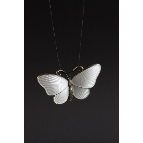 35 - Ivar Holth, Norwegian enamelled silver butterfly, white basse-taille enamel, stamped 925S Sterling N...