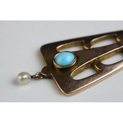 52 - Arts and Crafts turquoise and seed pearl 9ct rose gold pendant, the openwork triangular design frame...