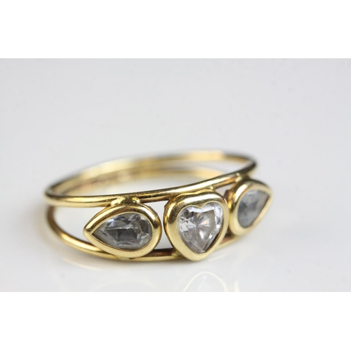 57 - Beryl 18ct yellow gold ring, the goshenite heart shaped central stone with beryl leaf shaped stone s...