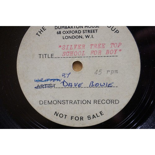 298 - Vinyl - David Bowie - A Single sided acetate demo for the song ' Silver Tree Top School For Boys ' (...