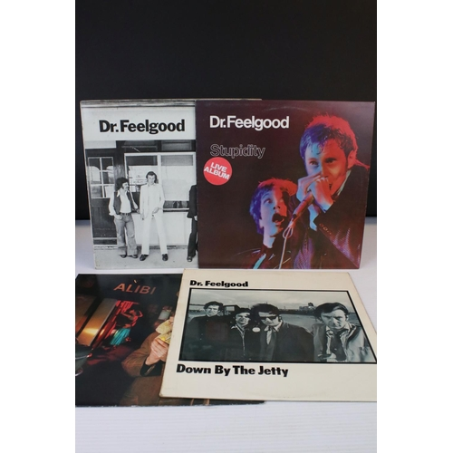 123 - Vinyl - Four Dr Feelgood LPs to include Down by the Jetty, Malpractice, Stupidity, 'Live Album' stic...