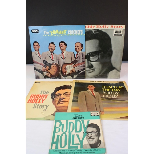 448 - Vinyl - Buddy Holly & The Crickets 4 LP's plus 1 EP (The Late Great Buddy Holly Coral FEP 2044), the...