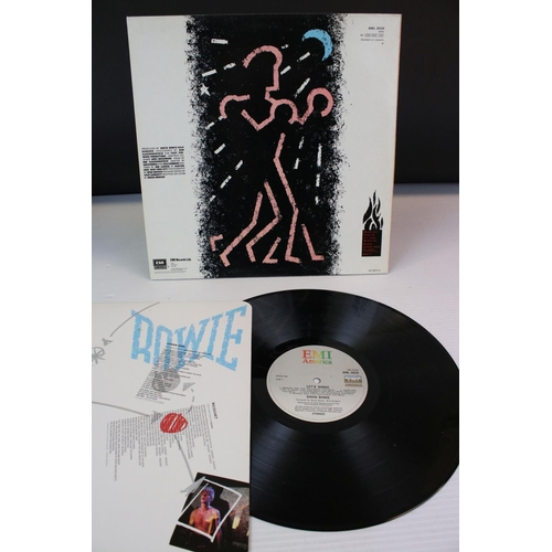 85 - Vinyl - Two David Bowie LPs to include Let's Dance AML3029 with lyric inner and Scary Monsters RCA80...