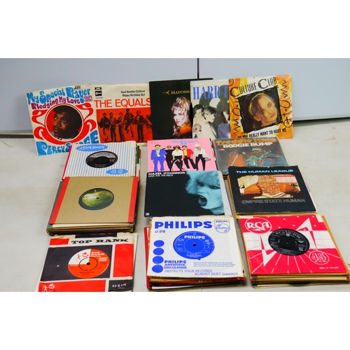 54 - Vinyl - A good collection of approx 80 45's from the 60's onwards featuring The Hollies, John Lennon...