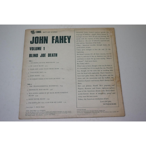 186 - Vinyl - Three John Fahey LPs to include Rain Forests, Oceans and Other Things (VR019), Blind Joe Dea...