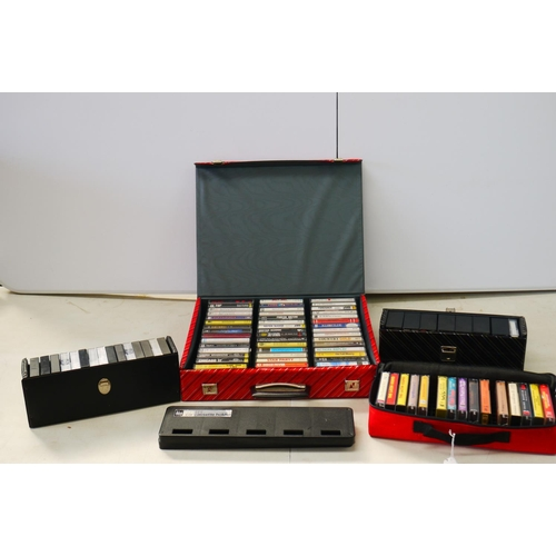 1039 - Cassettes - Collection of over 60 rock & pop cassettes in vintage carry cases including ZZ Top, Bill...