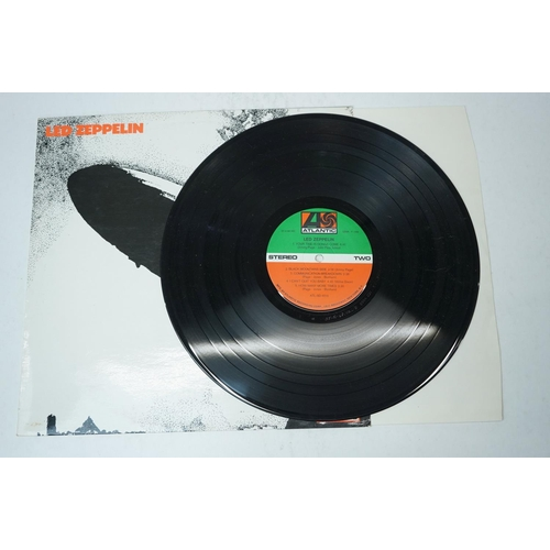 879 - Vinyl - Four Led Zeppelin LPs to include I SD8216 (green/orange label), II 588198 (red/plum label), ...