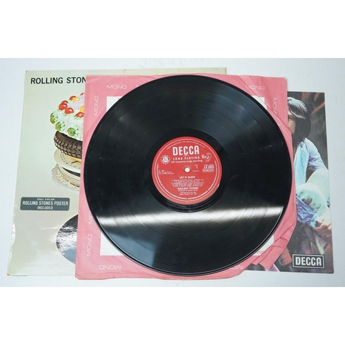 880 - Vinyl - Three The Rolling Stones LPs to include Let It Bleed LK5025 mono, with excellent poster, sle...