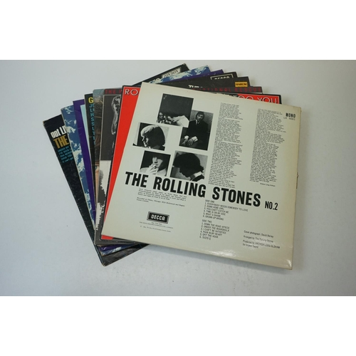 98 - Vinyl - Eight The Rolling Stones LPs to include No 2 LK4661 later re-release boxed Decca red label, ...