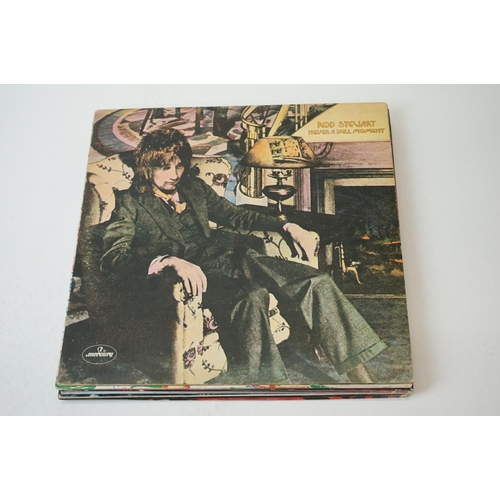 130 - Vinyl - Eight Rod Stewart LPs to include Never a Dull Moment, Coast to Coast, Atlantic Crossing, A N...