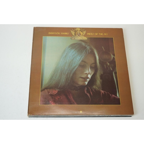 136 - Vinyl - Seven Emmylou Harris LPs to include Pieces of the Sky, Elite Hotel, Luxury Linger, Evangelin...