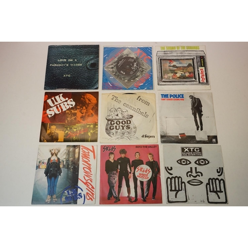 345 - Vinyl - collection of 9 punk 45's to include XTC x 3 (VS259 clear vinyl, VS 462A, VS 613), UK Subs x...