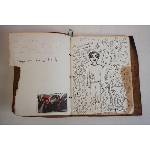 705 - Memorabilia – Pete Doherty / Peter Doherty - A leather-bound book containing lyrics, thoughts, conce...
