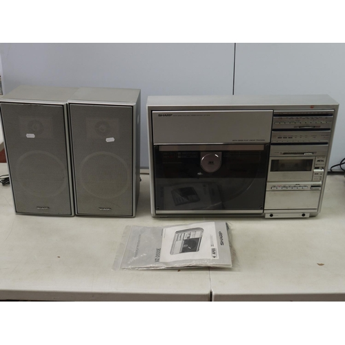 754 - Stereo Equipment - Sharp VZ-3500E Stereo System with upright linier tracking record player, cassette...