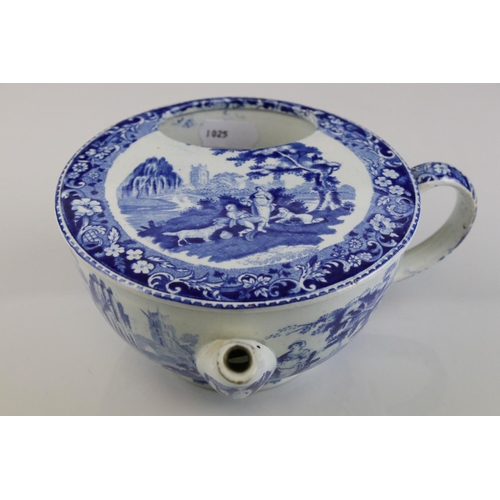 12 - 19th century Pearlware blue and white feeding cup with romantic scene decoration.