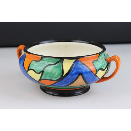 15 - Clarice Cliff ' Bizarre '  Double V pattern Twin handled  bowl, 17cms diameter