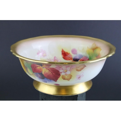 2 - Kitty Blake 20th century Royal Worcester bowl with Blackberry and Brier decoration, puce mark to und...