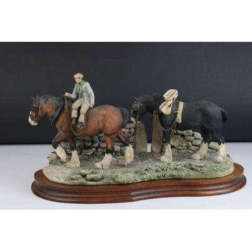 28 - A Border Fine Arts James Herriot model on wooden plaque titled ' Coming Home ', plough man with hors...